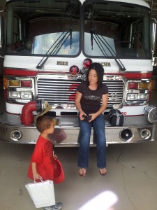 mommy and ethan at fire station